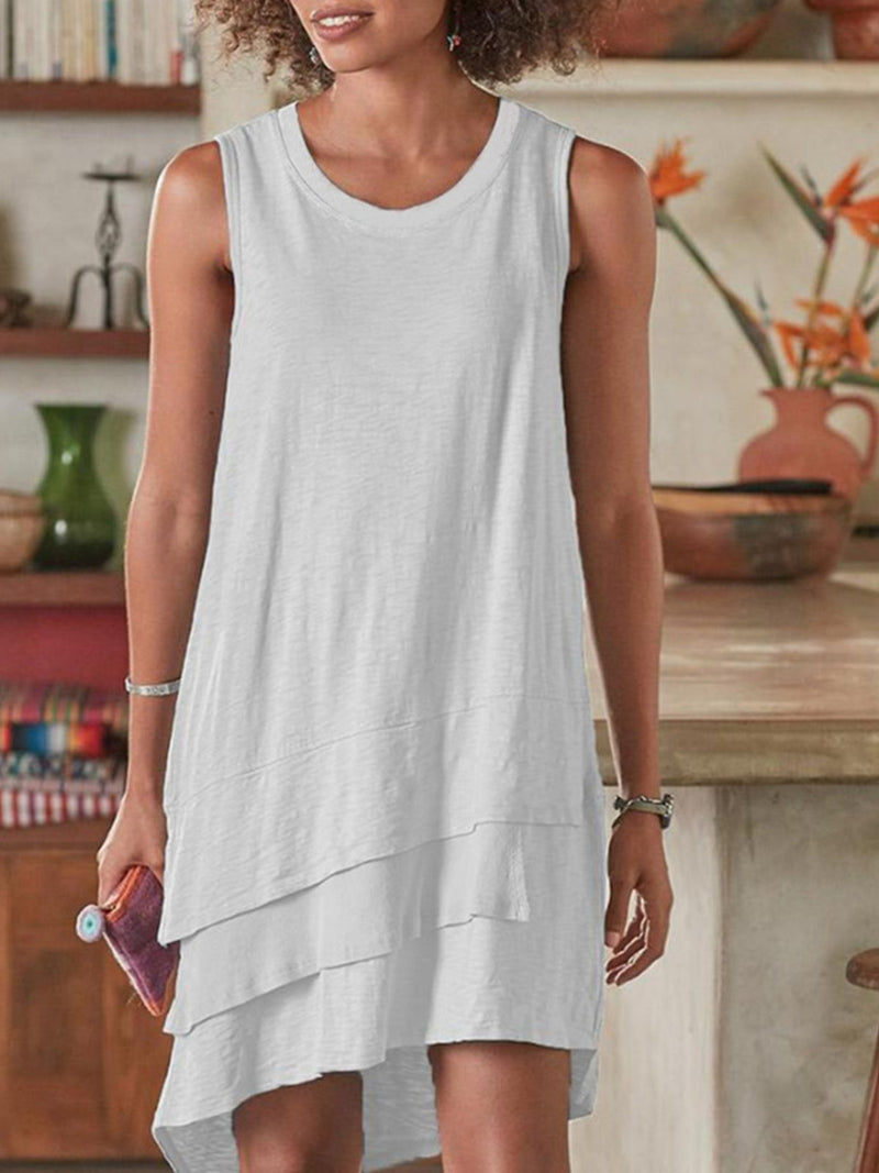 Layeren Hem Round Neck Sleeveless Knit Cotton Asymmetric Dress