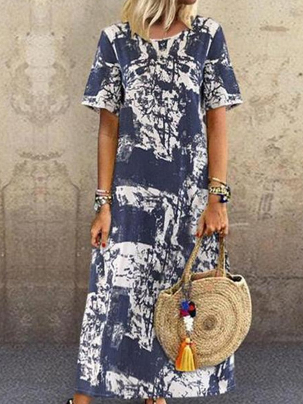 Navy Print Round Neck Short Sleeve Full-Length Dress