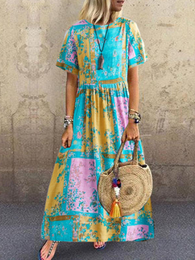 Summer Multicolor Print Short-Sleeve A-Line Linen/Cotton Dress