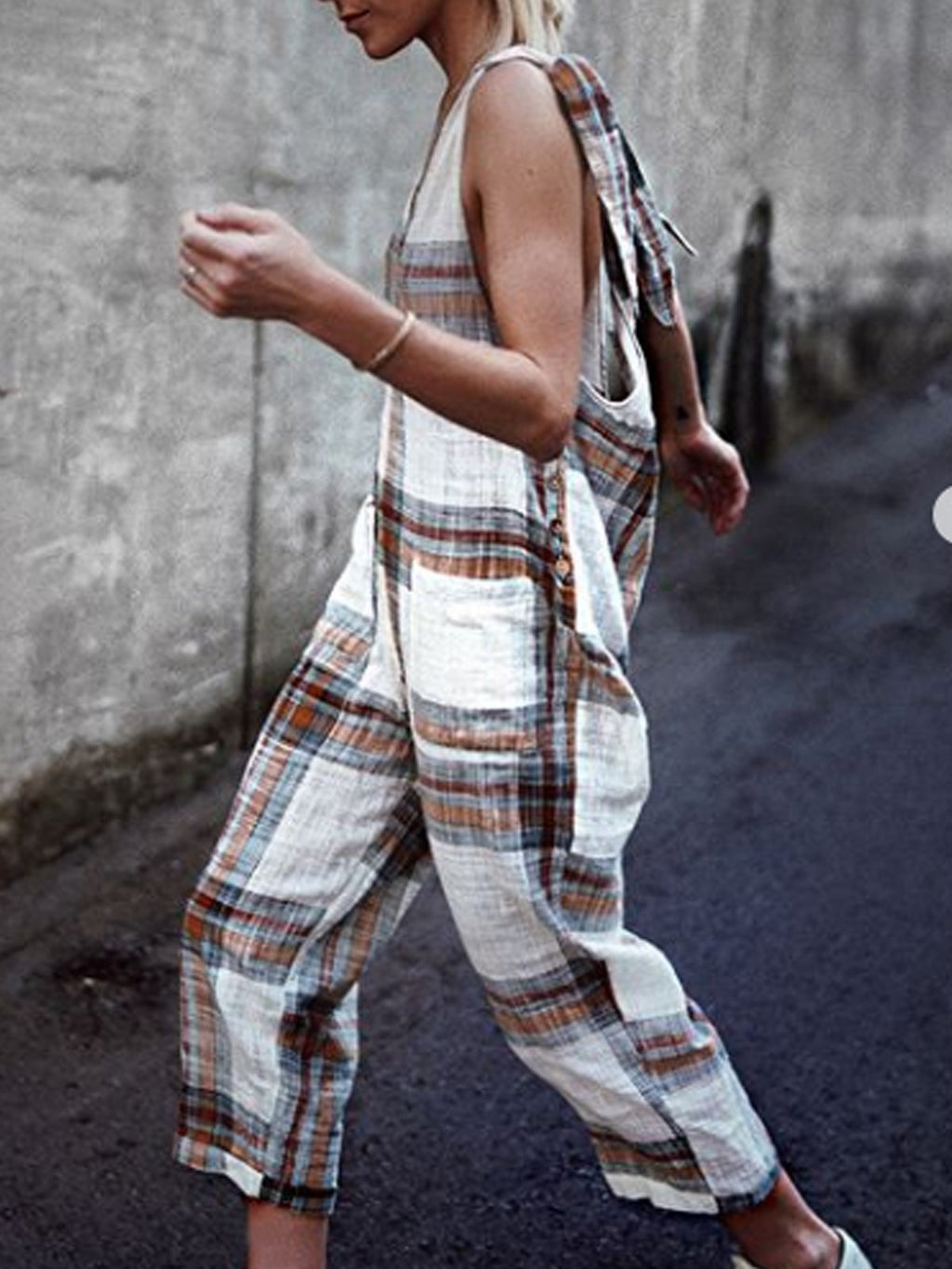 Checked Print Sleeveless Cotton-Blend Jumpsuits