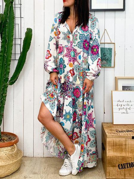 Plus Size Multicolor Print Vintage Full-Length Loose Swing Dress
