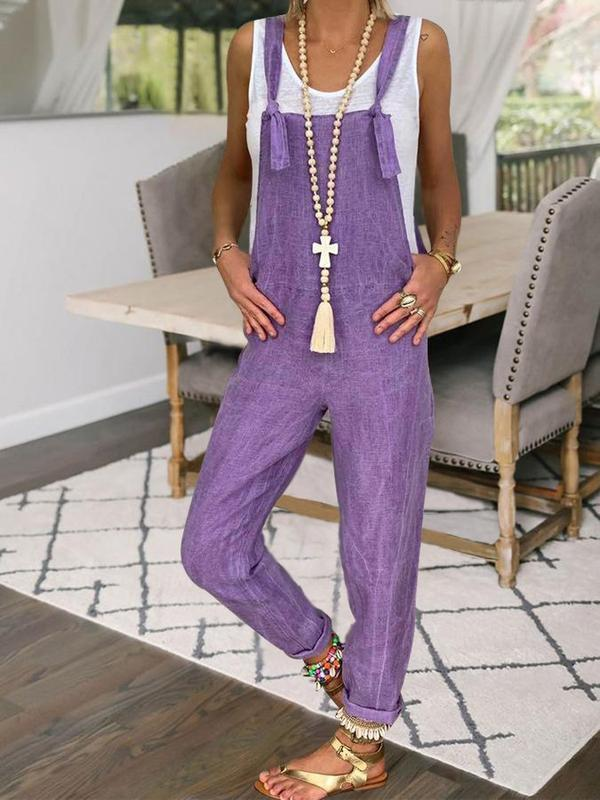 Solid Purple Plus Size Casual Straight Suspender Jumpsuits