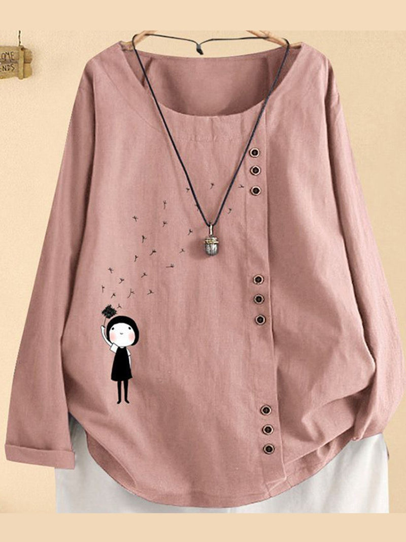 Cartoon Print Round Neck Loose Asymmetric Button Trim Blouse