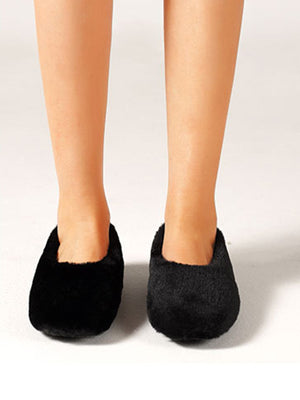 Solid Black Artificial Fur Upper Casual Flattie
