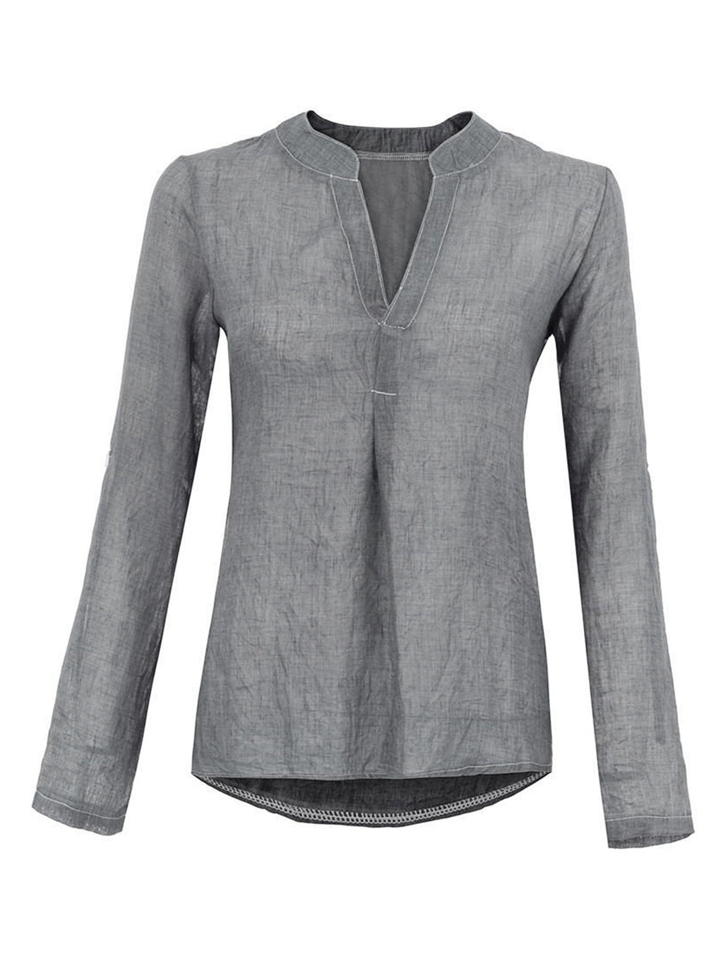 Solid Linen V Neck Long Sleeve Pleated Sexy Shirt