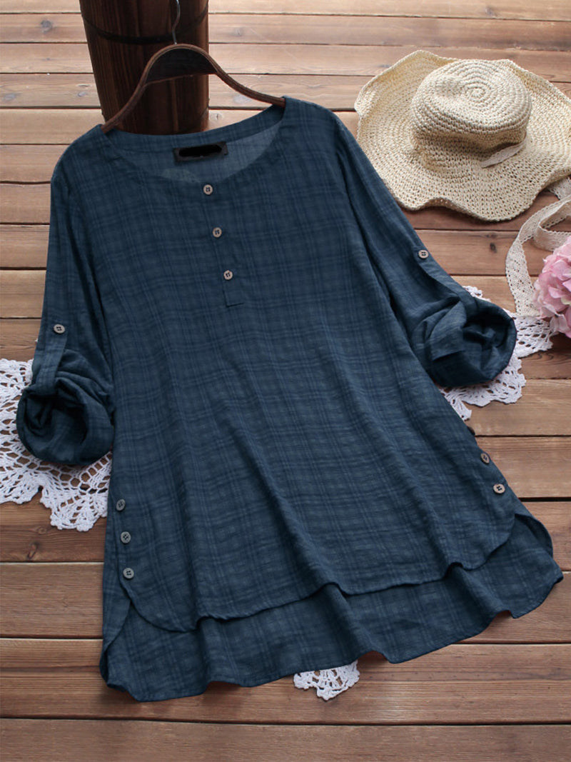 Plaid Round Neck Long Sleeve Irregular Plus Size Blouse