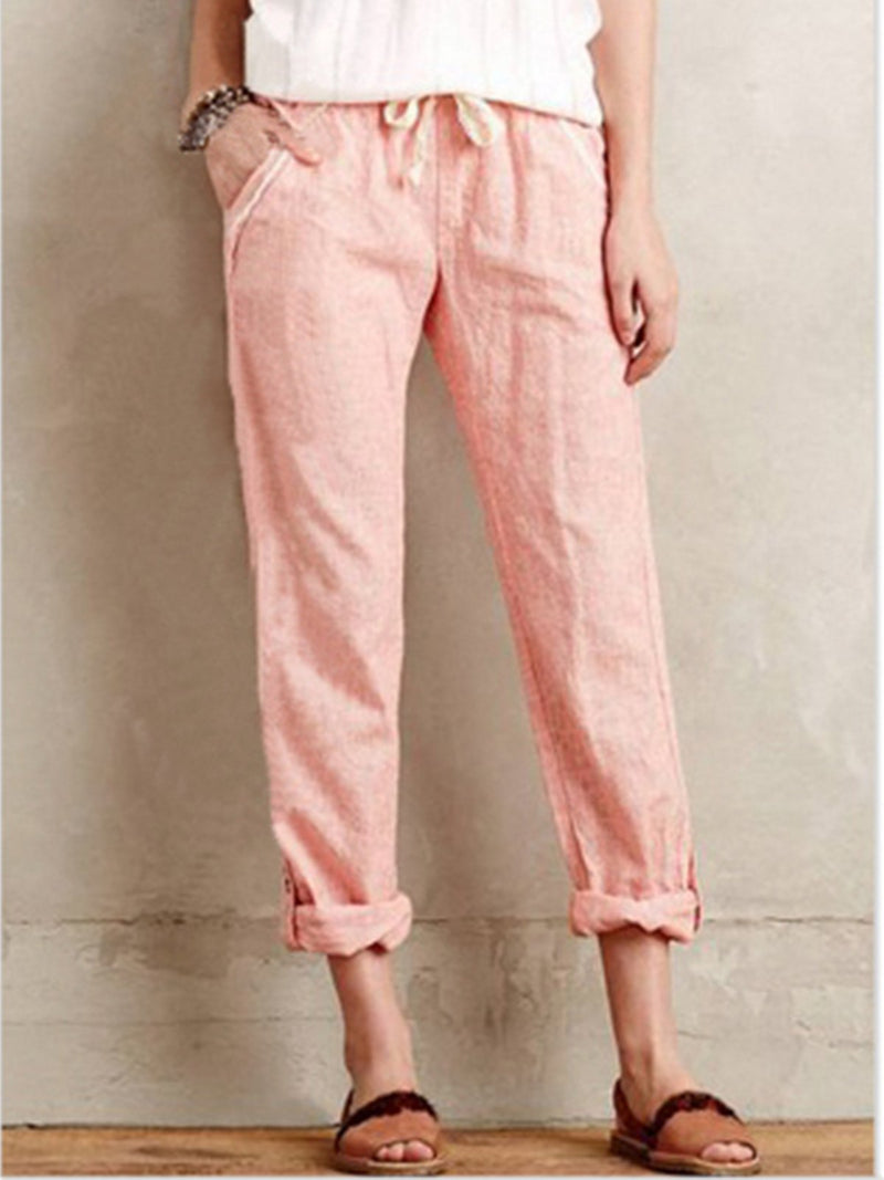 Solid Cotton Medium Waist Pockets Casual Pants
