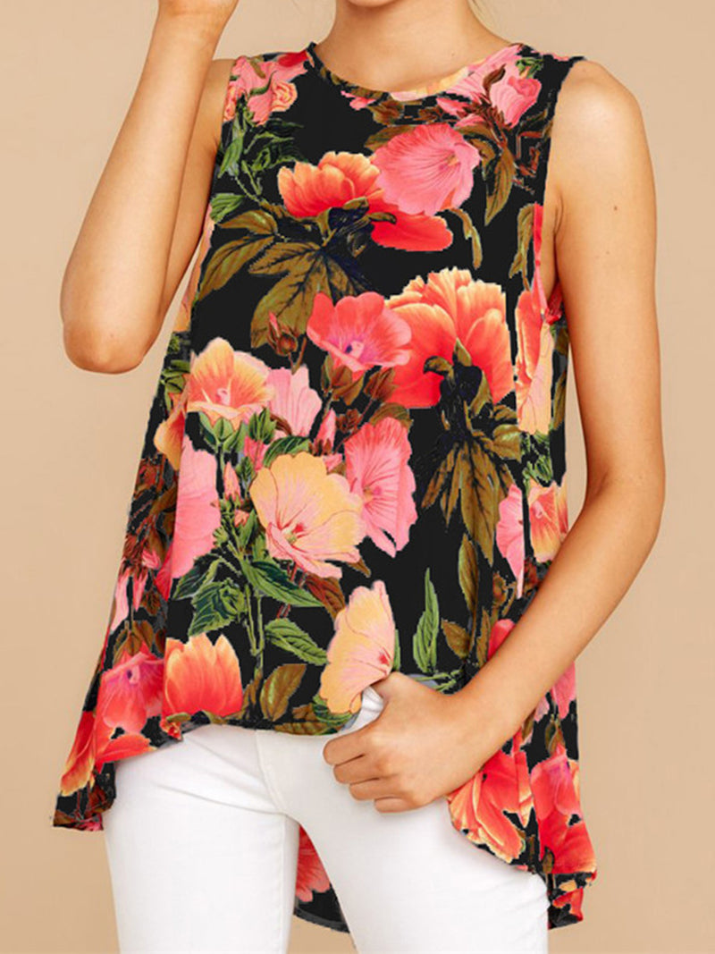 Floral Round Neck Sleeveless Loose Casual Tank Top