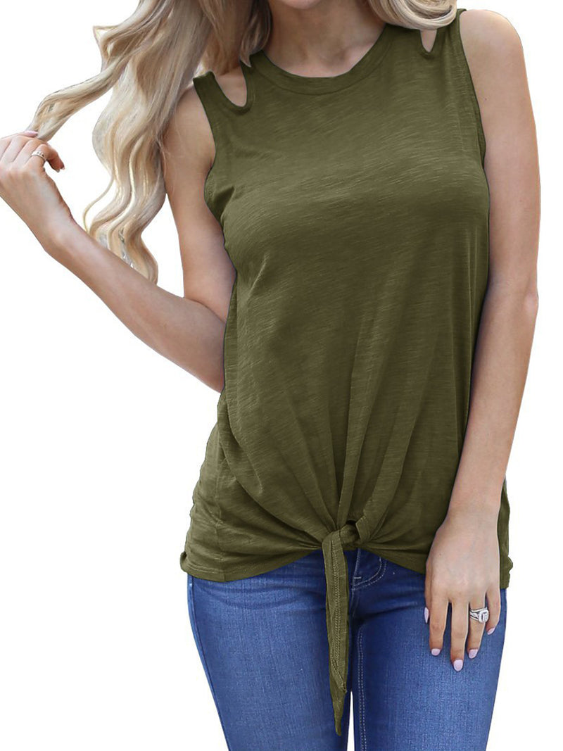 Solid Round Neck Sleeveless Twisted Loose Plus Size Tank Top