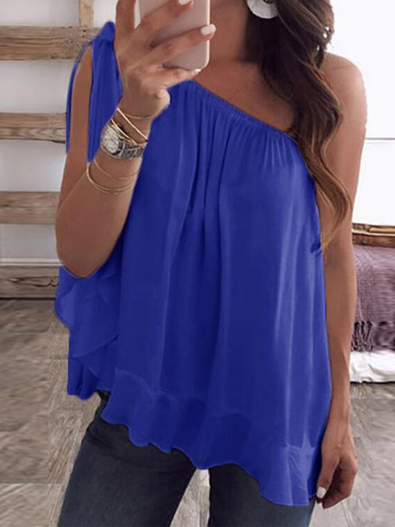 Solid Chiffon One Shoulder Sleeveless Loose Sexy Tank Top