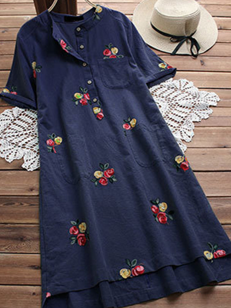Linen Floral Round Neck Short Sleeve Plus Size Midi Dress