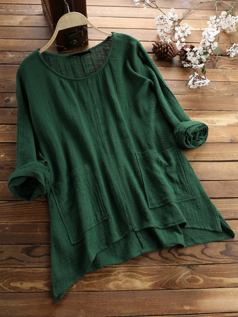 Cotton Solid Round Neck 3/4 Sleeve Pockets Loose Plus Size Blouse