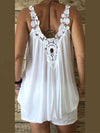 Lace Solid U Neck Sleeveless Loose Plus Size Tank Top
