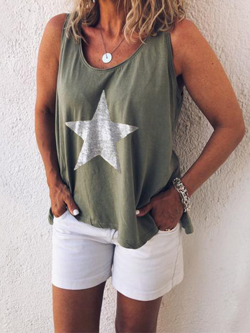 Star Print Round Neck Sleeveless Plus Size Loose Tank Top