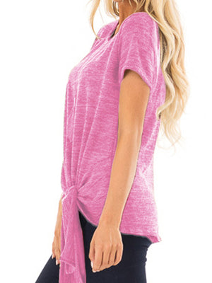 Solid Round Neck Short Sleeve Twisted T-shirt