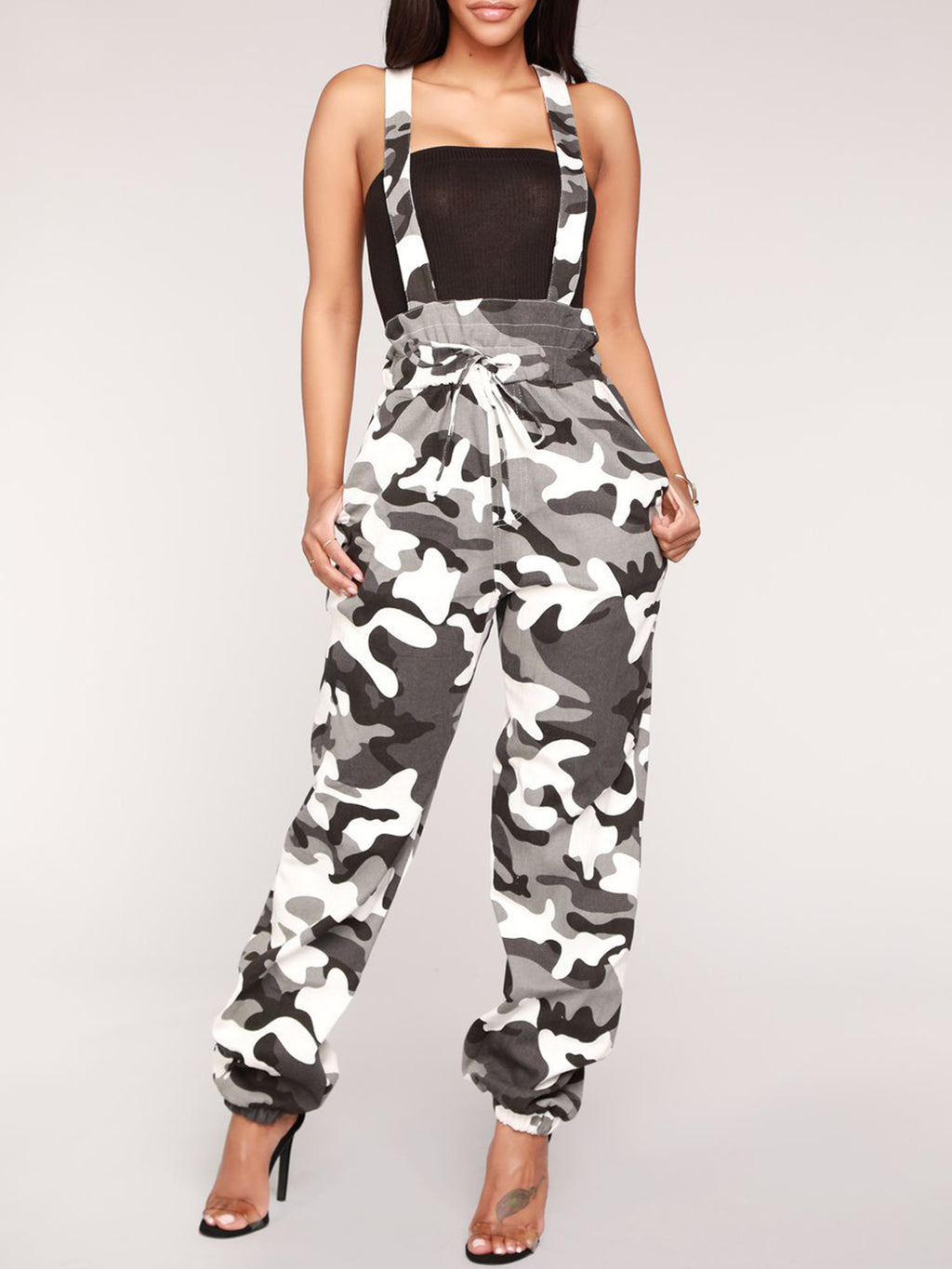 Camouflage Medium Waist Loose Jumpsuit