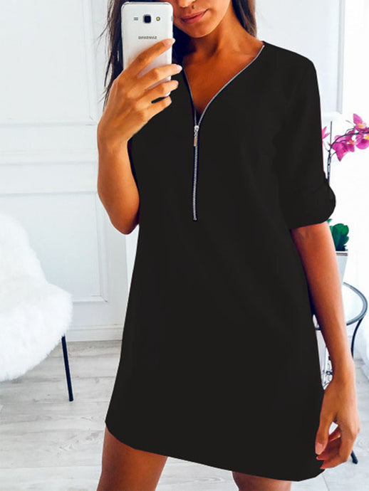 Solid Chiffon V Neck Long Sleeve Zipper Midi Dress