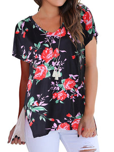 Floral V Neck Short Sleeve Slit T-shirt