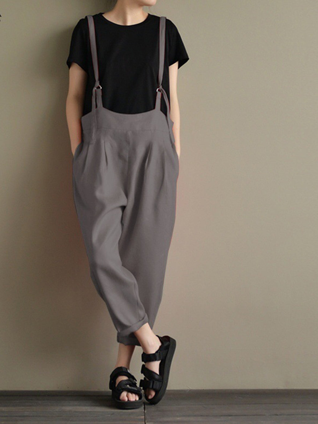 Linen Solid Sleeveless Loose Jumpsuit