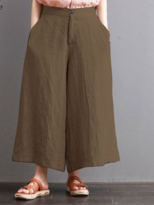 Solid Medium Waist Wide-leg Pants