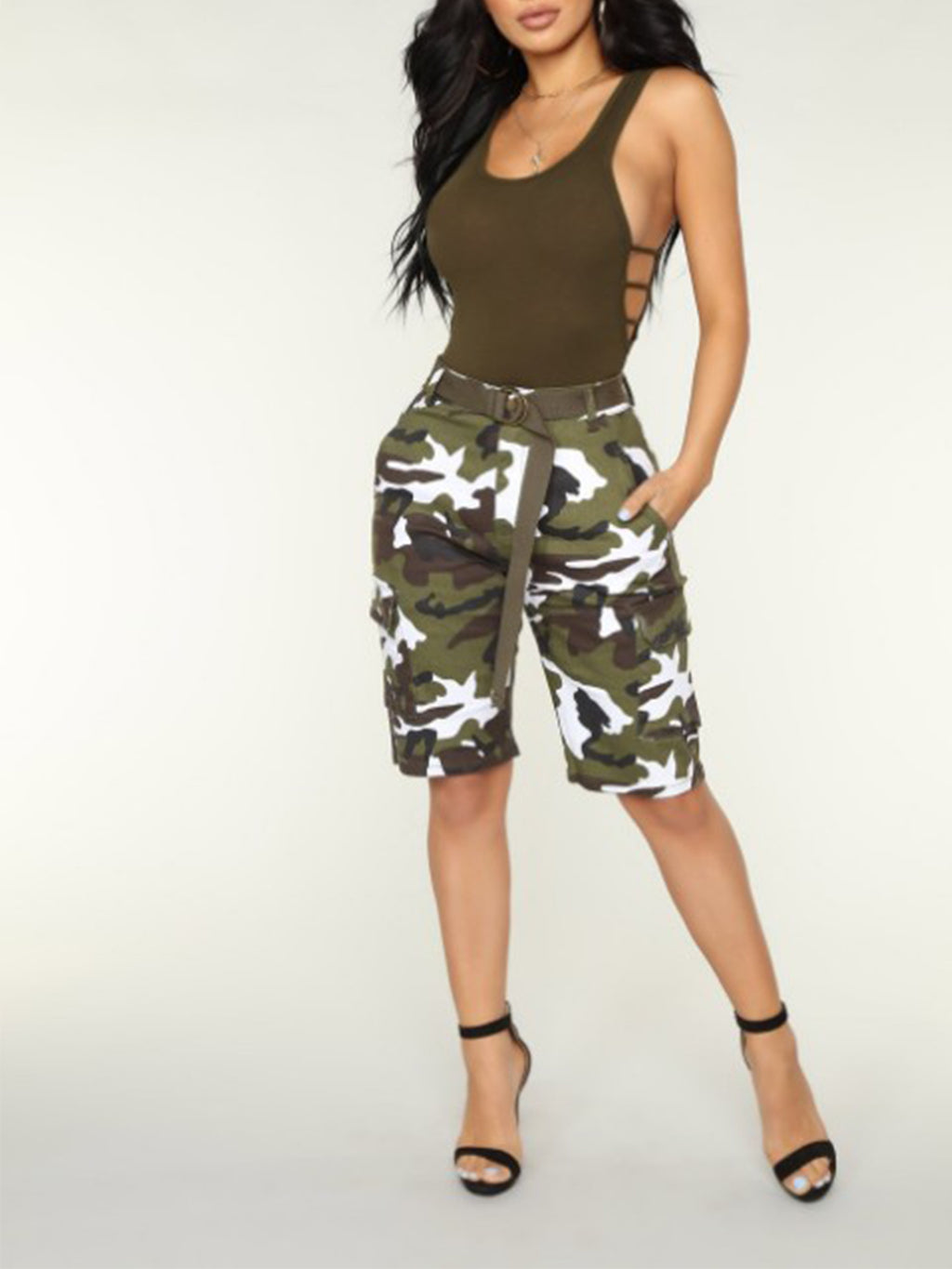 Camouflage Low Waist Button Zipper Shift Shorts