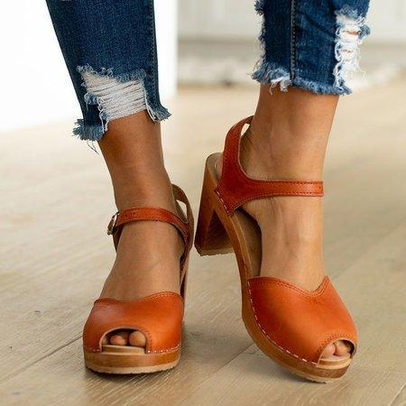 Orange Peep Toe Casual Buckle Strap Sandals