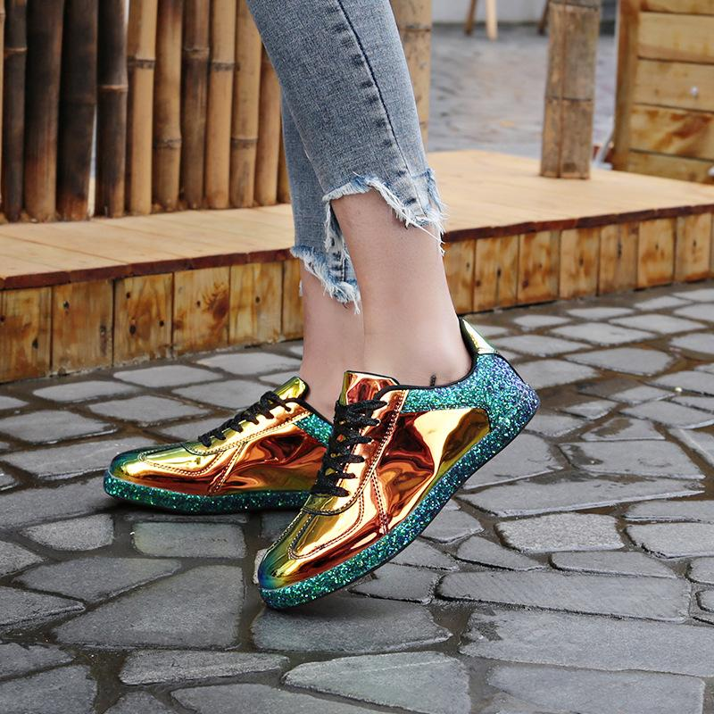 Fashion  Psychedelic Pattern Lace-Up Flat Sneakers