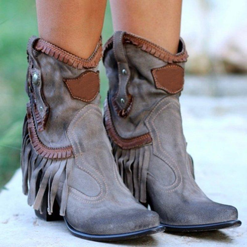 Block Heel Fringed Ankle Boot