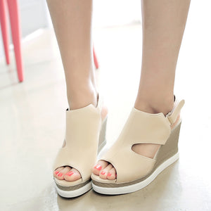 PU Staw Weaving Bottom Wedge Peep-toe Sandals
