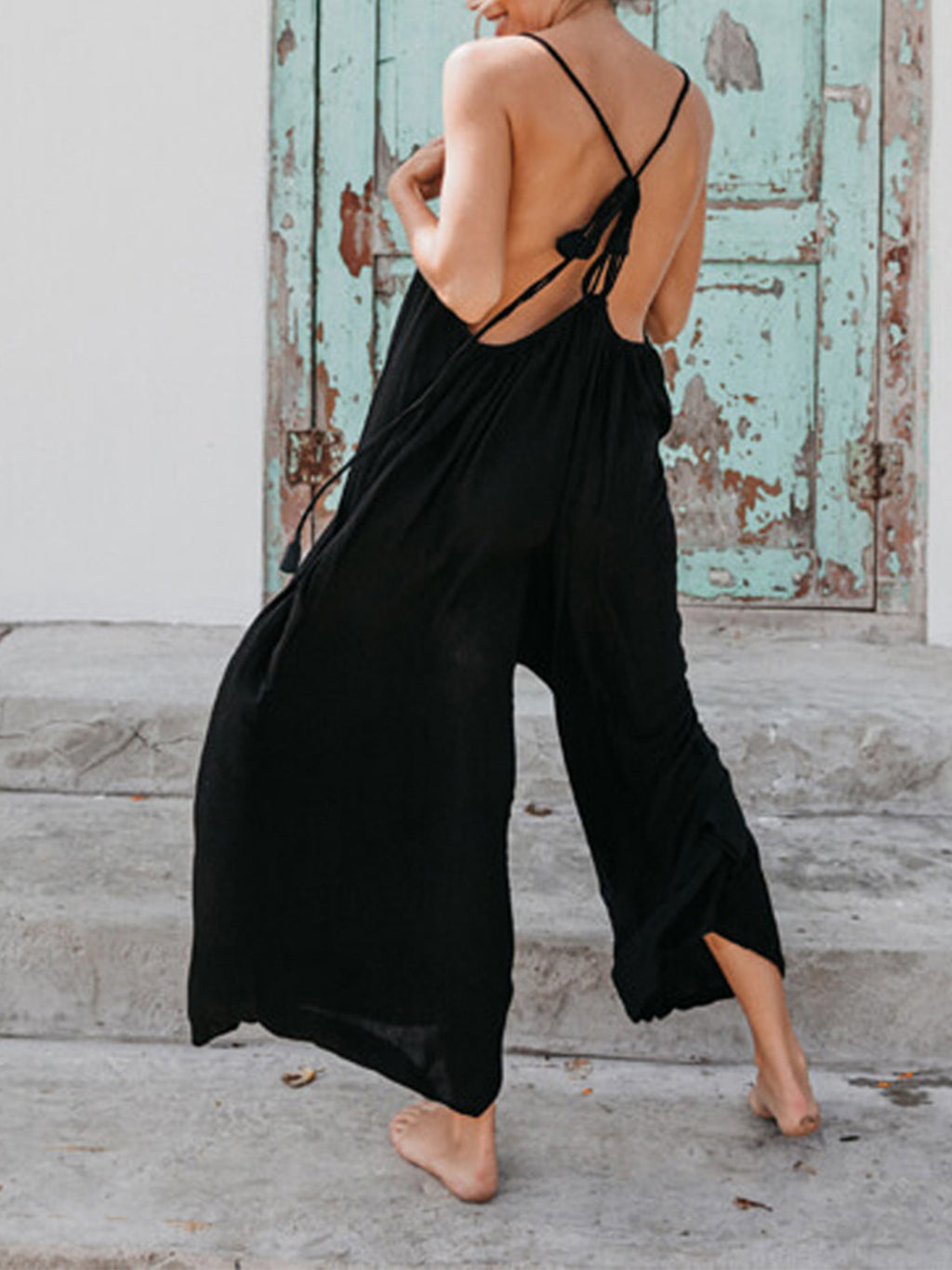 Sleeveless Spaghetti Backless Solid Maxi Length Women Jumpsuits