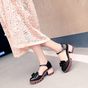 Bow Round Toe Chunky Heels Buckle Sandals