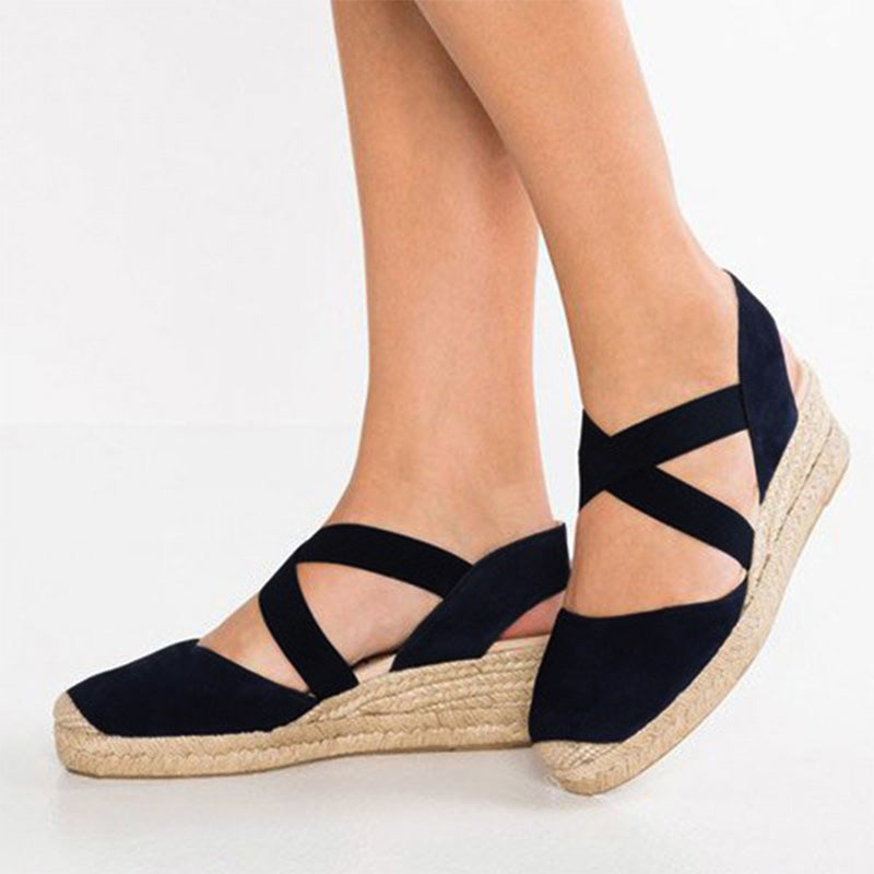 Plus Size Espadrille Wedge Sandals Elastic Band Slip On Sandals