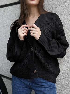 Solid Button Placket V Neck Loose Cardigan Sweater