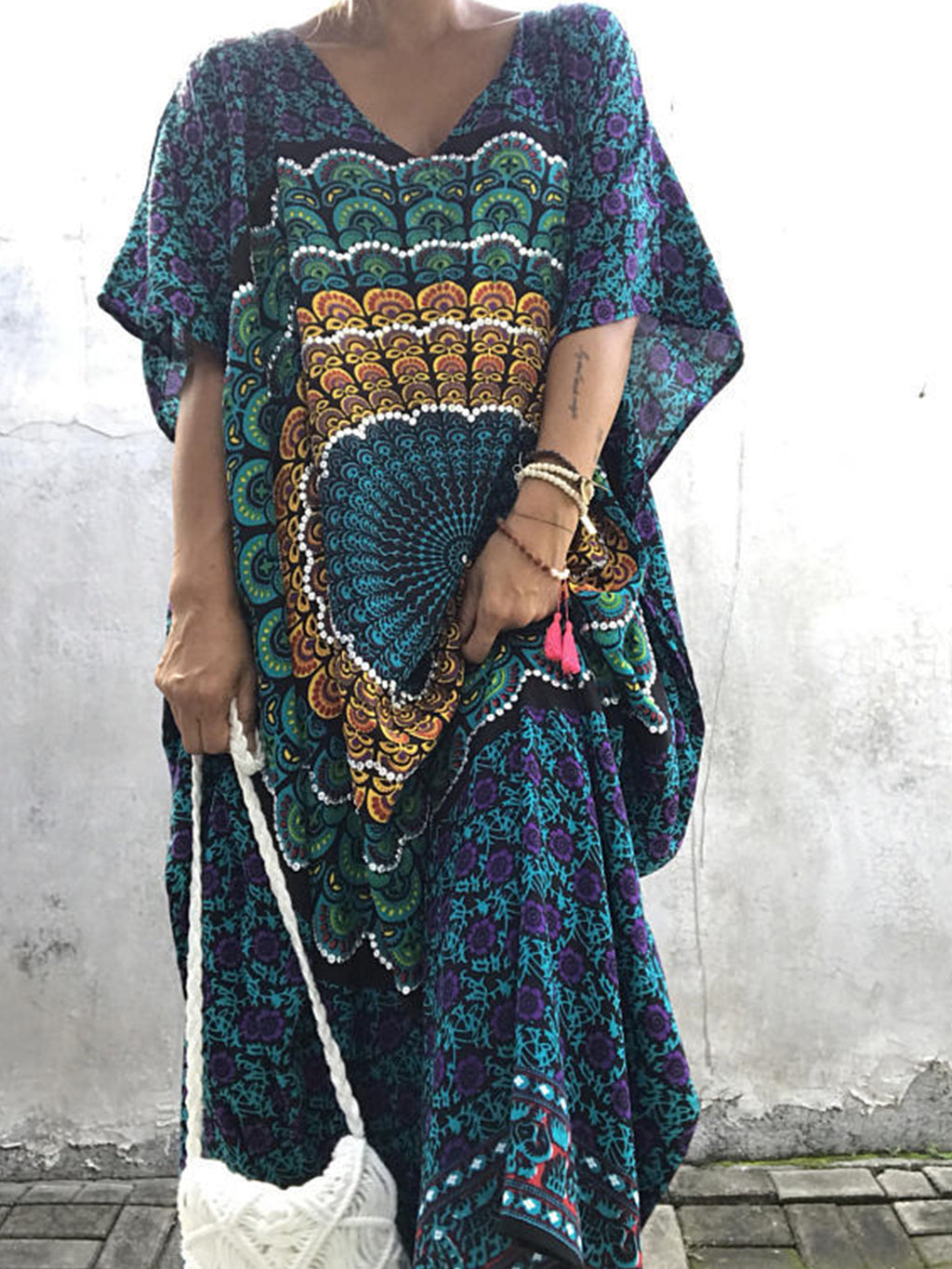 Oversize Batwing Sleeve Printing Robe Dress