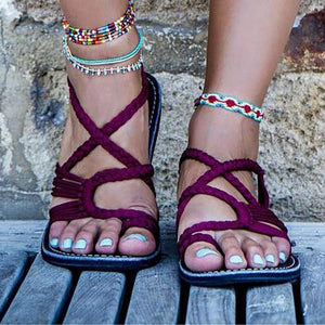 Plus Size Women Sandals Handmade Beach Flat Sandals