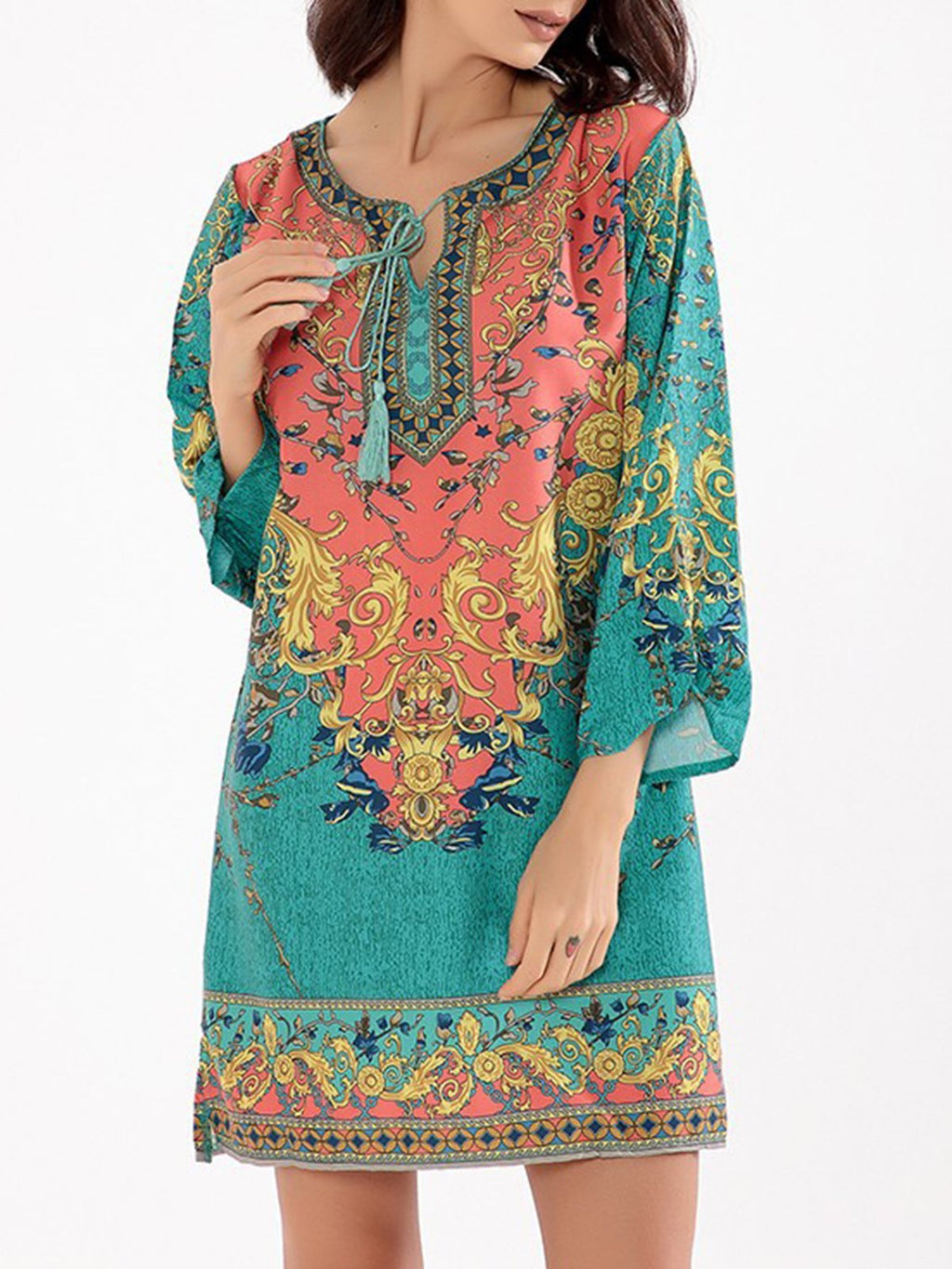 Tribal Boho 3/4 Sleeve Printed Tie-neck Dress