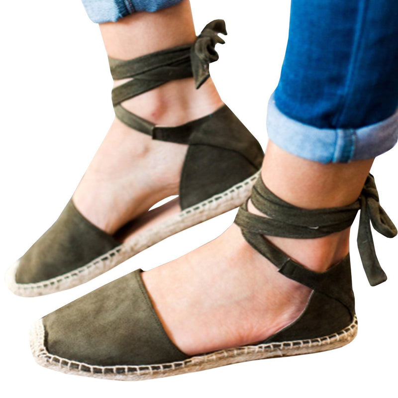 Staw-woven Flat Lace-up Women Plus Size Sandals
