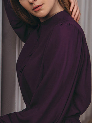 Solid Purple Turtle Neck Self-tied Long Sleeve Midi Dress