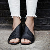 Sexy Side Open Casual Flat Shoes Solid Open Toe Leather Sandals