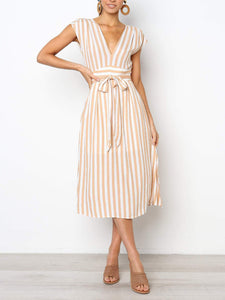 Stripe Print Cap Sleeve Casual V Neck Lace-up Women Dress