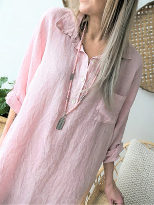 Shirt Color Long Sleeve Solid Linen/Cotton Long Shirt
