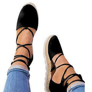 Cross-band Lace-up Flat hamp Rope Women Sandals