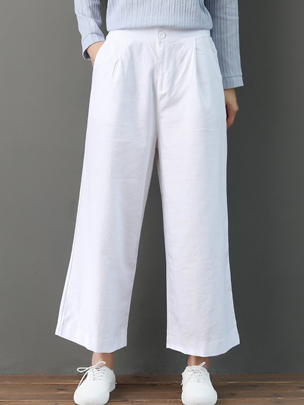 High Rise Straight Crop Length Linen/Cotton Pants