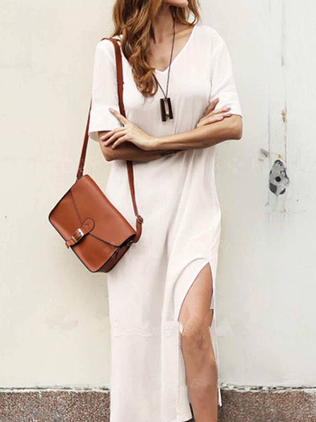 Solid Linen/Cotton V Neck Side Slit Short Sleeve Dress