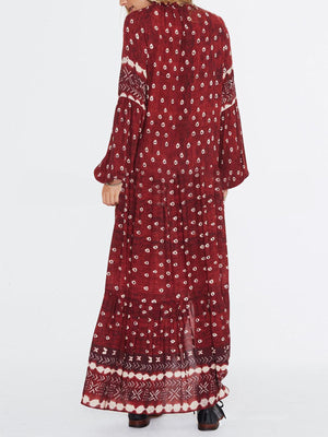 Scarlet Bohemia Print V Neck High Slit Maxi Dress