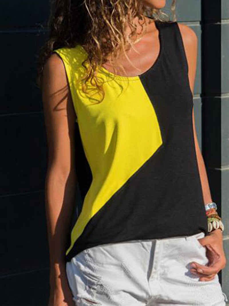 Color Block Sleeveless Women Round Neck Tank Top
