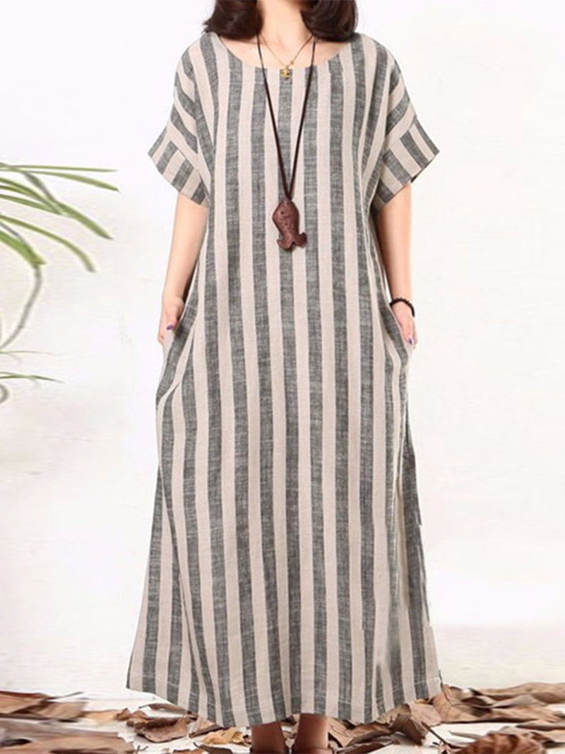 Casual Gray A-line Stripes Plus Size Dress