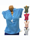 Women Stressed Diamond Ruffle Sleeve Vest T-shirt