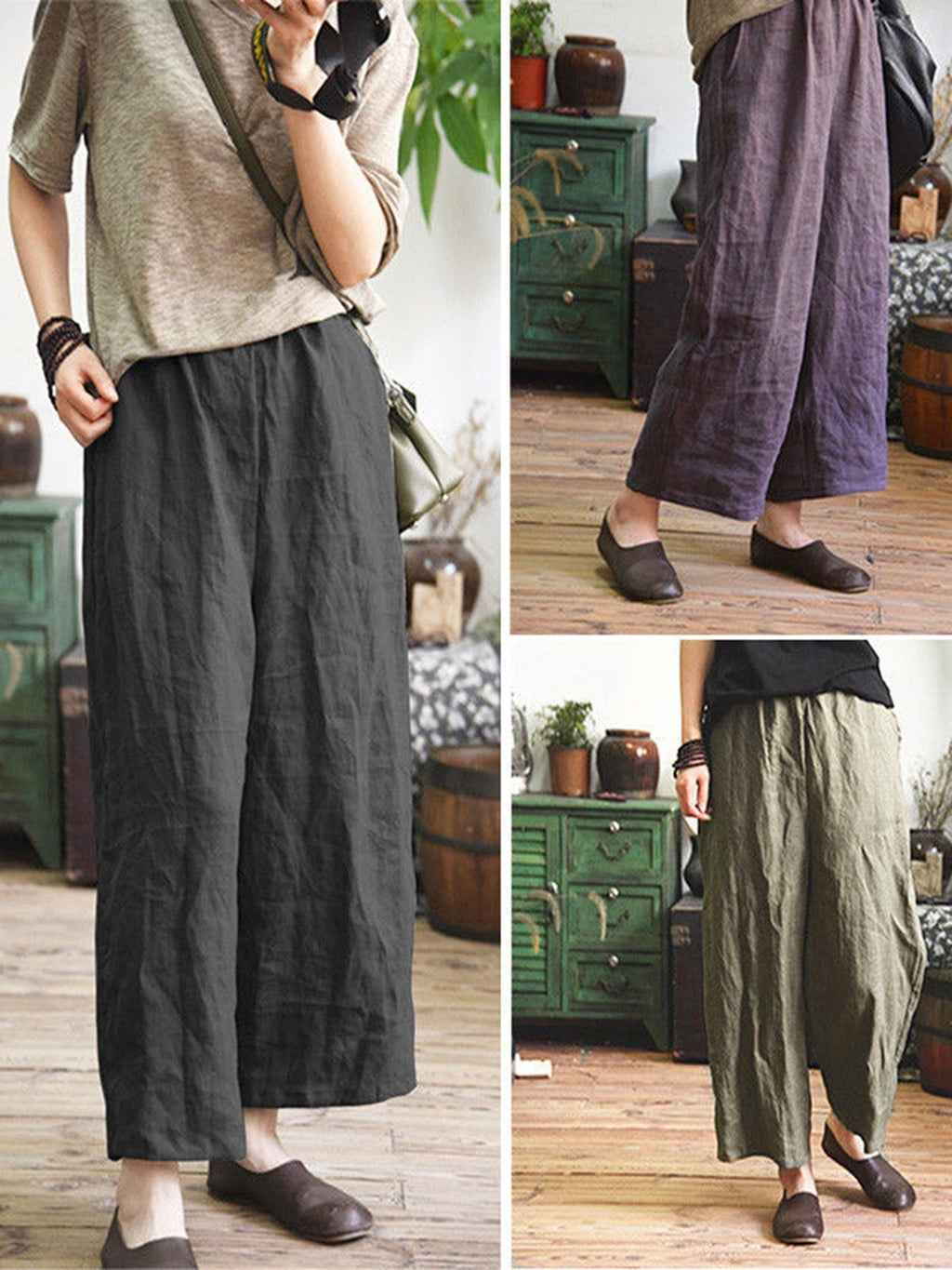 Plus Size Casual Pockets Plain Crop Pants