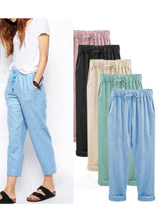 Daily Plus Size Solid Casual Crop Pants
